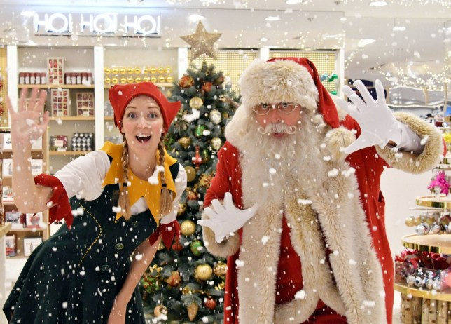 Mandatory Credit: Photo by Nils Jorgensen/REX/Shutterstock (5811013d) Selfridges Santa and his elf Selfridges opens its Christmas Shop, London, UK - 01 Aug 2016 The official unveil of Selfridges Christmas Shop, with a little help from Santa and his elf. Selfridges gets the 2016 Christmas season underway as the first department store in the world to open its Christmas Shop, leaving customers with only 145 shopping days left before Christmas.