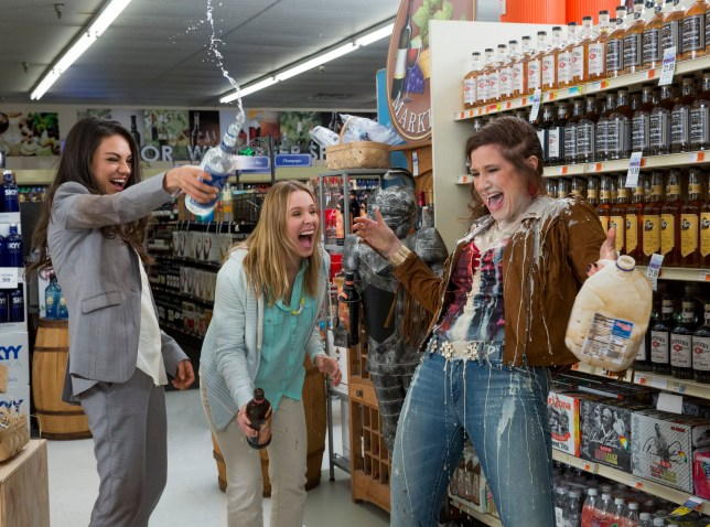 "This image released by STX Productions shows, from left, Mila Kunis, Kristen Bell and Kathryn Hahn in a scene from, ""Bad Moms."" The movie opens in U.S. theaters on July 29, 2016. (Michele K. Short/STX Productions via AP)"