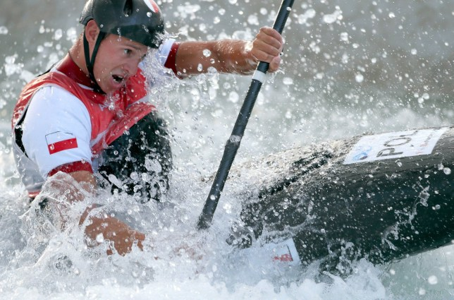RIO DE JANEIRO, BRAZIL - AUGUST 02:  A competitor from Poland practices during training for the whitewater kayak event prior to the 2016 Summer Olympics on August 2, 2016 in Rio de Janeiro, Brazil.  (Photo by Jamie Squire/Getty Images)