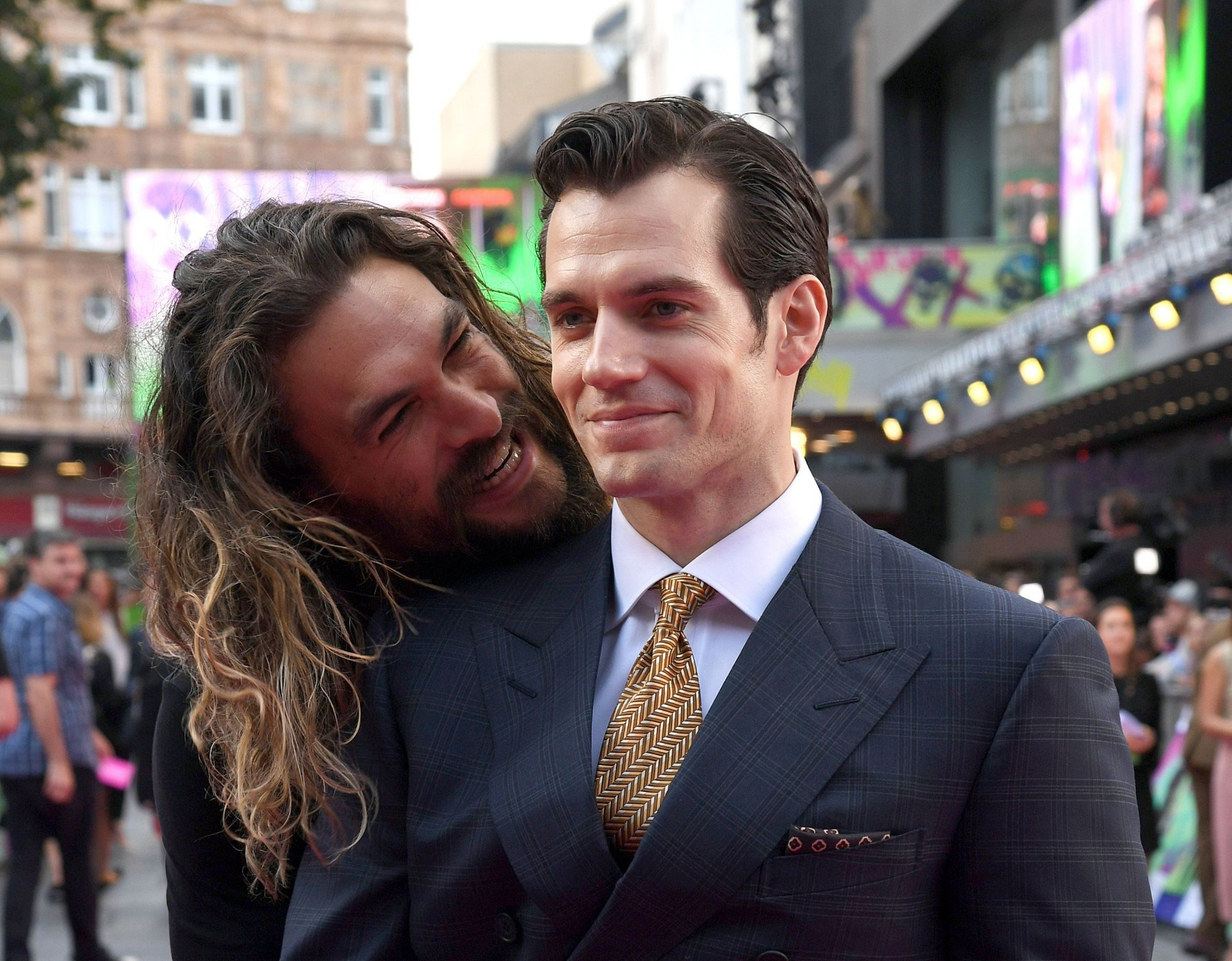 Mandatory Credit: Photo by Richard Young/REX/Shutterstock (5821469bl) Jason Momoa and Henry Cavill 'Suicide Squad' film premiere, London, UK - 03 Aug 2016