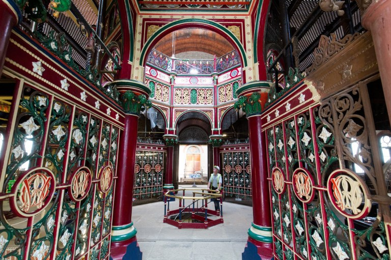 """General view of Crossness Pumping Station, London. It was built by Sir Joseph Bazalgette as part of Victorian London's urgently needed main sewerage system and officially opened by the Prince of Wales in April 1865. See National story NNPUMP; These stunning pictures show the Crossness Pumping Station in south-east London, which was built to try and tackle the Great Stink of 1858. Opened by the Prince of Wales in April of 1865, this grade 1-listed building was designed to take London's sewage away from the city before dumping it in the Thames, which was the main source of drinking water at the time. Blighted by a heatwave, the capital was faced with an epidemic of cholera and typhoid due to the wretched state of denizen's drinking water. The resulting stench from the Thames forced the authorities to take notice - with government officials forced to soak parliamentary curtains in a lime chloride bath to mask the smell. Within a matter of years, the pumping station, which was overseen by one of the country's top civil engineers, Sir Joseph Bazalgette, opened and began work on cleaning up the city's waterways. So proud was Sir Joseph of his pumping station, he wanted it to be seen and admired by """"visitors from across the UK and Europe""""."""