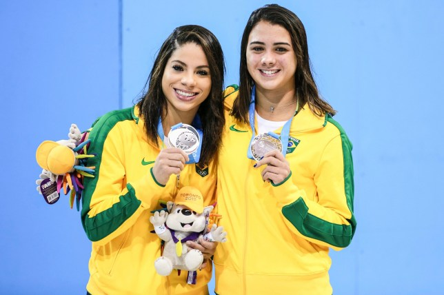 TORONTO, CANADA - JULY 13: Silver medallists Ingrid de Oliveira and Giovanna Pedroso of Brazil pose for pictures after winning Women's Synchronised 10m Platform Final during the Toronto 2015 Pan Am Games at Aquatics Centre on July 13, 2015 in Toronto, Canada. (Photo by William Volcov/Brazil Photo Press/LatinContent/Getty Images)