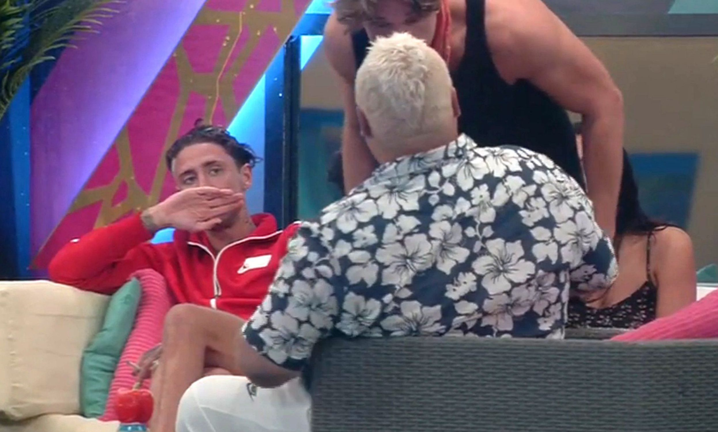 Editorial Use Only..Mandatory Credit: Photo by REX/Shutterstock (5829505k)..Lewis Bloor shouting at Heavy D, watched by Stephen Bear..'Celebrity Big Brother' TV show, Elstree Studios, Hertfordshire, UK - 15 Aug 2016..