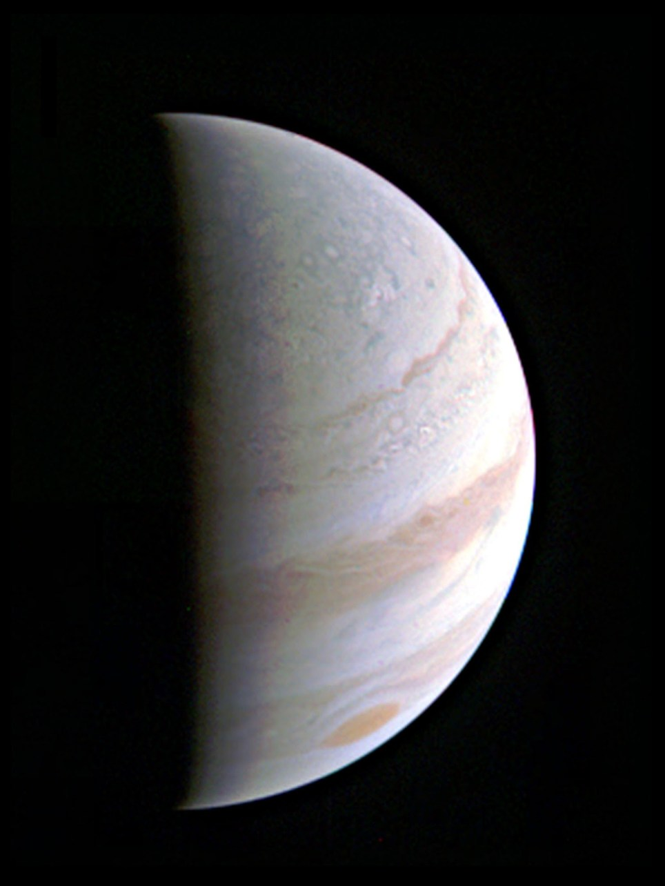 NASA handout photo dated 27/08/16 of Jupiter's north polar region coming into view as NASA's Juno spacecraft approaches the giant planet. This view of Jupiter was taken on August 27, when Juno was 437,000 miles away. PRESS ASSOCIATION Photo. Issue date: Sunday August 28, 2016. See PA story SCIENCE Juno. Photo credit should read: NASA/JPL-Caltech/SwRI/MSSS/PA Wire NOTE TO EDITORS: This handout photo may only be used in for editorial reporting purposes for the contemporaneous illustration of events, things or the people in the image or facts mentioned in the caption. Reuse of the picture may require further permission from the copyright holder.