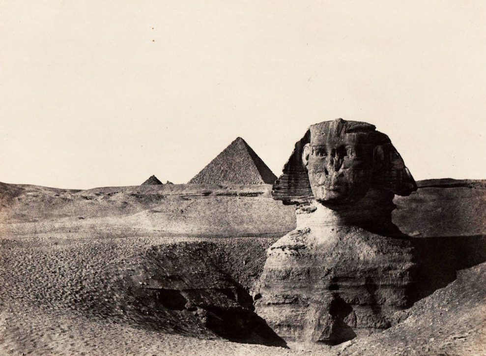 BNPS.co.uk (01202 558833) Pic: AntiquarianAuctions/BNPS The Sphinx outside Cairo - before the sands of time had been cleared away. First Impressionís - earliest prints of ancient Egypt uncovered Calotypes from the 1840's revealed the stunning architecture of the ancient civilisation to the Victorian public for the first time. The stunning collection - comprising 59 black and white images of sights including the pyramids, the Sphinx and statues at Aswan - is among the first known volumes of travel photography. Produced at a time when camera technology was still in its infancy, they were captured by Maxime Du Camp, the son of a wealthy French surgeon, between 1849 and 1851 during a government-funded expedition with his friend and literary great Gustave Flaubert. They are being sold by Antiquarian Auctions in an online sale which ends on Thursday.