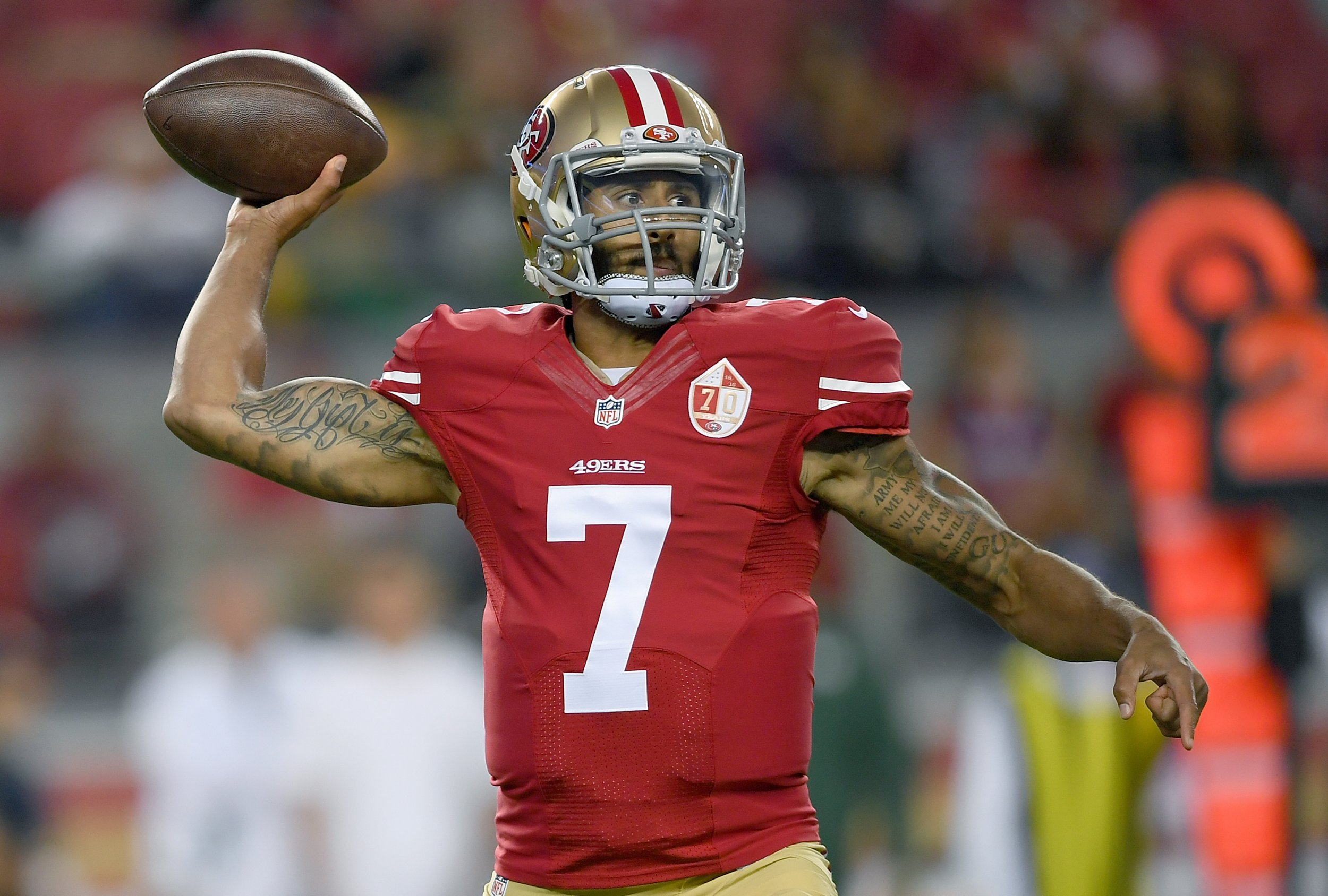 SANTA CLARA, CA - AUGUST 26: Quarterback Colin Kaepernick #7 of the San Francisco 49ers throws a pass against the Green Bay Packers in the first half of their preseason football game at Levi's Stadium on August 26, 2016 in Santa Clara, California. (Photo by Thearon W. Henderson/Getty Images)