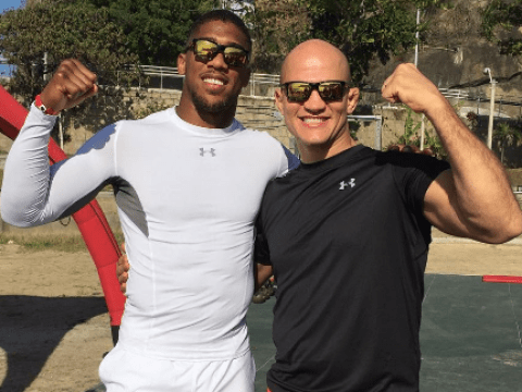 Anthony Joshua training with former UFC champion Junior dos Santos in Rio during Olympics