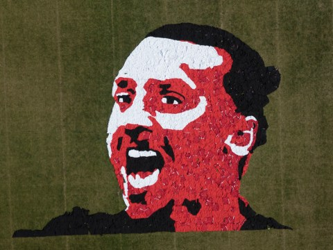 There is now a massive image of Zlatan Ibrahimovic's face made out of Manchester United shirts