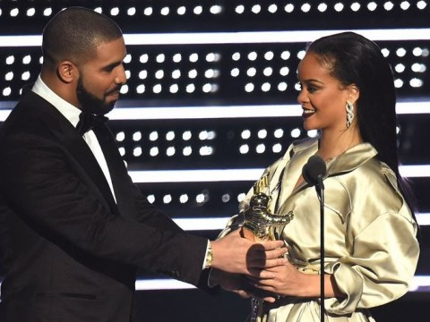 Rihanna leaves Drake hanging at the MTV VMAs after he tries to kiss her on stage