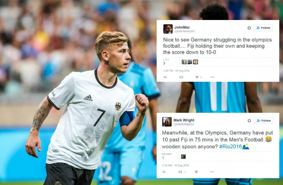 Football fans troll Olympic football after Germany hammer Fiji 10-0 in Rio