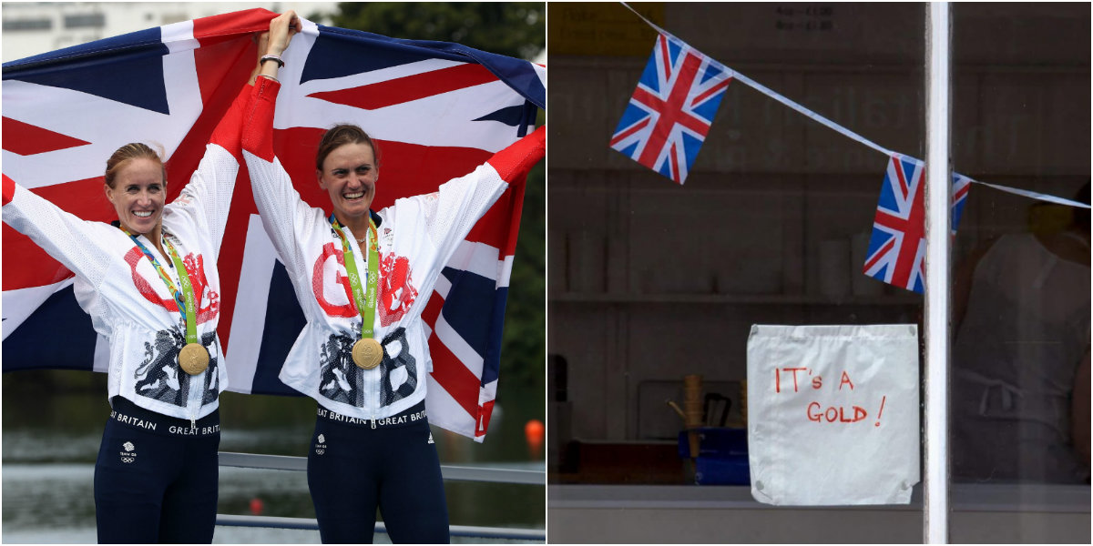 Helen Glover's dad lets the entire world know his daughter won gold at the Rio Olympics for Team GB