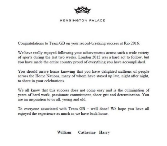 Rio 2016 Olympics: Team GB receive letter from William, Kate