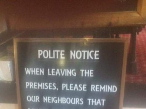 Pub writes shadiest note about their neighbours for noisy customers leaving the bar