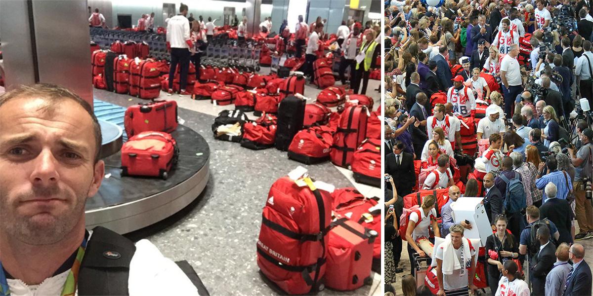 Team GB athletes play 'spot your bag' on arrival at Heathrow