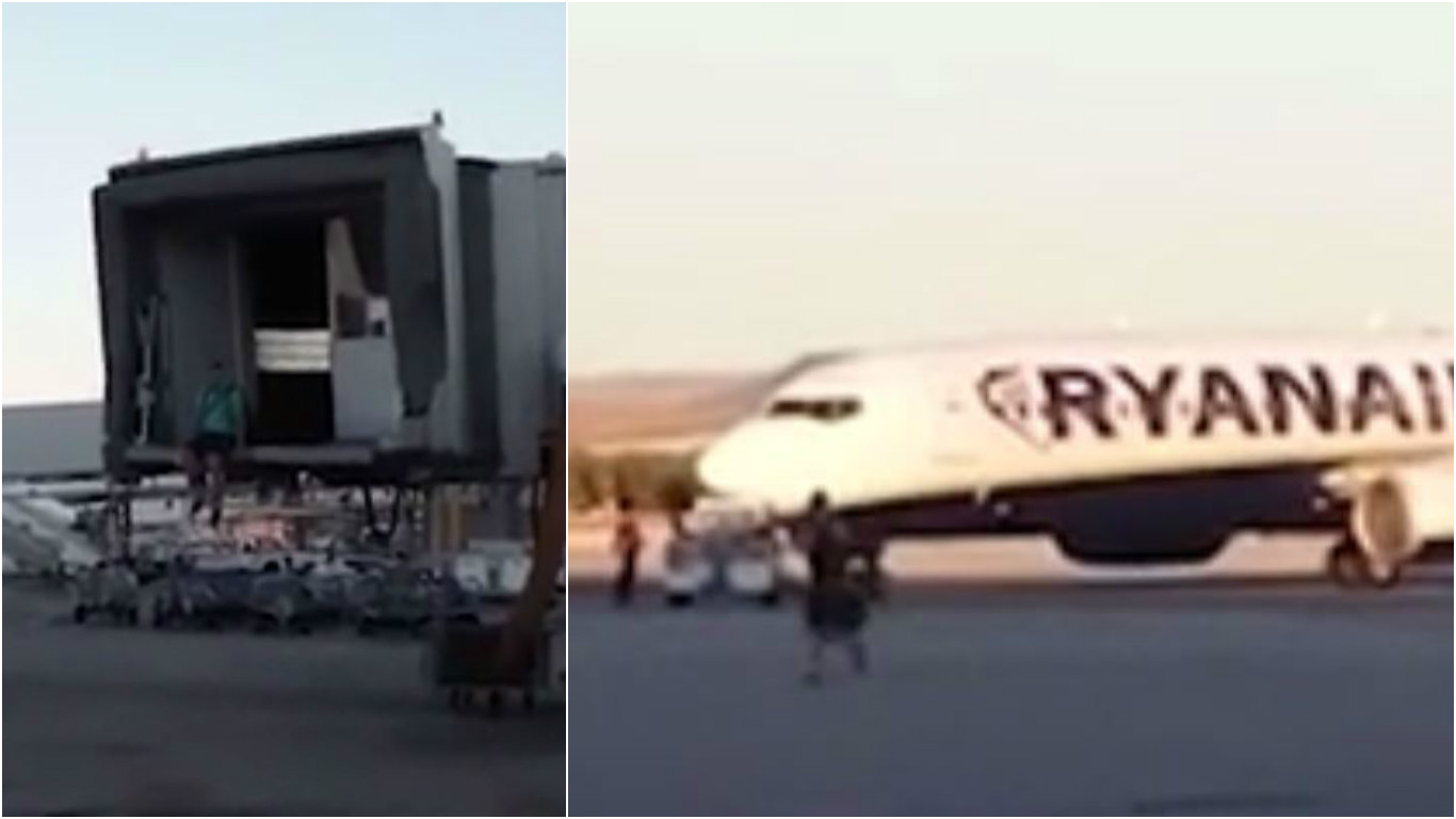 Ryanair passenger filmed trying to catch plane after missing his flight
