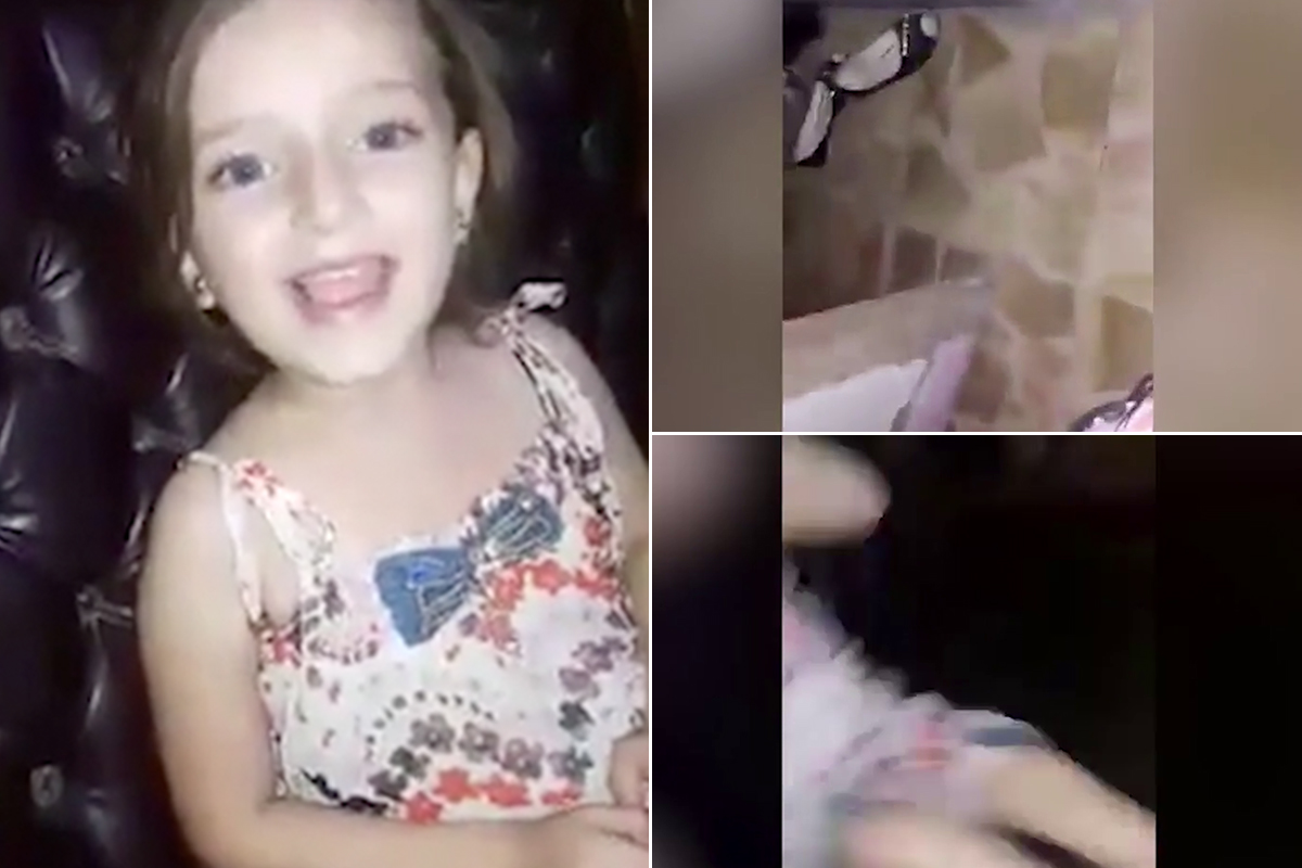 Syrian girl sings happily before bomb rocks her home