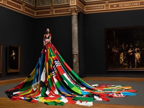 Trans model wears rainbow dress made with flags from countries where homosexuality is still banned