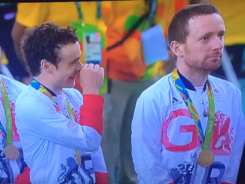 Some people get upset about Bradley Wiggins tongue wag during national anthem and some people just laugh