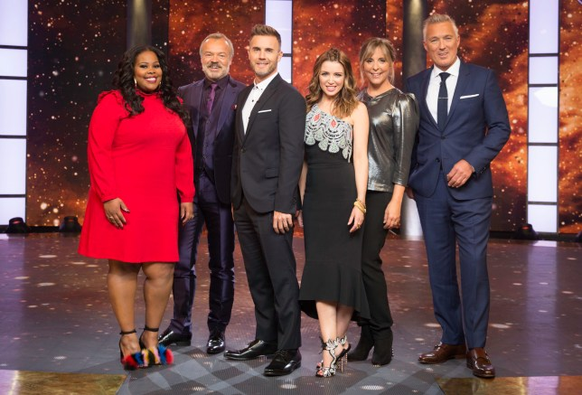 WARNING: Embargoed for publication until 10:00:01 on 20/09/2016 - Programme Name: Let It Shine - TX: 20/09/2016 - Episode: n/a (No. n/a) - Picture Shows: **EMBARGOED FOR PUBLICATION UNTIL 10:00 HRS ON TUESDAY 20TH SEPTEMBER 2016** Amber Riley, Graham Norton, Gary Barlow, Dannii Minogue, Mel Giedroyc, Martin Kemp - (C) BBC - Photographer: Guy Levy