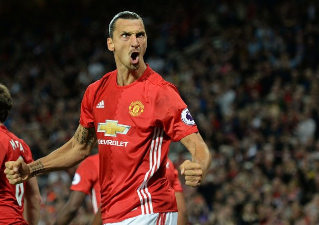 Manchester United's Swedish striker Zlatan Ibrahimovic celebrates after scoring their second goal from the penalty spot during the English Premier League football match between Manchester United and Southampton at Old Trafford in Manchester, north west England, on August 19, 2016. / AFP / Oli SCARFF / RESTRICTED TO EDITORIAL USE. No use with unauthorized audio, video, data, fixture lists, club/league logos or 'live' services. Online in-match use limited to 75 images, no video emulation. No use in betting, games or single club/league/player publications. / (Photo credit should read OLI SCARFF/AFP/Getty Images)