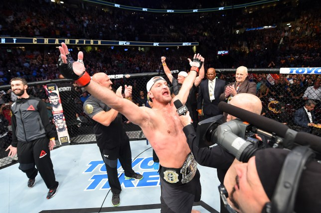 CLEVELAND, OH - SEPTEMBER 10: UFC heavyweight champion Stipe Miocic celebrates after defeating Alistair Overeem of The Netherlands in their UFC heavyweight championship bout during the UFC 203 event at Quicken Loans Arena on September 10, 2016 in Cleveland, Ohio. (Photo by Josh Hedges/Zuffa LLC/Zuffa LLC via Getty Images)