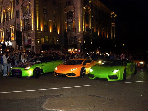 Secret supercar meet-up 'shuts down London' in style