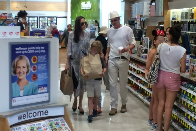 Brad Pitt and Angelina Jolie visit a local pharmacy (Picture: AKM-GSI-XPOSURE)