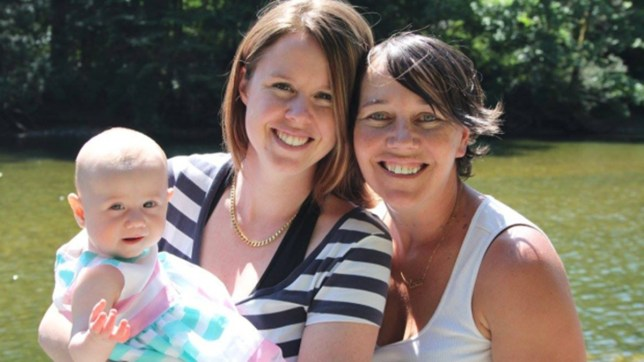 Kaydance (at nine months old) with her parents Lauren Etchells, left, and Tasha Brown (Picture: Tasha Brown/Facebook)