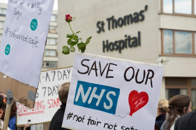 NHS Junior Doctors go on all out strike at St Thomas Hospital, Westminster, in a dispute between themselves and the BMA and the Government over the imposition of a new contract on April 26th 2016 in London, United Kingdom. This is the first time that National Health Service staff have withdrawn emergency care as their dispute over terms continues in this latest two day strike action. (photo by Mike Kemp/In Pictures via Getty Images)