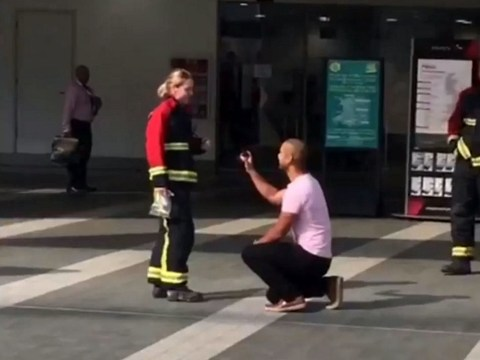 Man calls out firefighters 'with ring stuck on finger' to propose to girlfriend