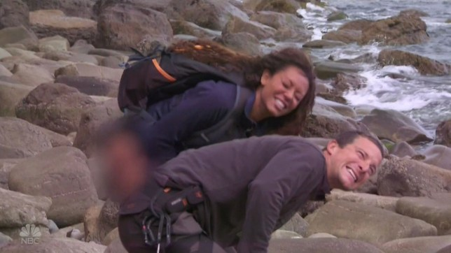 """8 September 2016 - Los Angeles - USA **** STRICTLY NOT AVAILABLE FOR USA *** Mel B pees on Bear Grylls' hand after he's stung by a jellyfish on latest episode of Running Wild With Bear Grylls. The former Spice Girl pulled down her pants and did her business over Grylls' left hand after he picked up a jellyfish to show her what they would be eating for dinner. As he picked up the creature, he dropped it and and received a nasty sting on his hand as it fell. Mel immediately recalled how in movies, saying: """"If someone gets stung by a jellyfish you have to pee on them. Do you need me to pee on you?"""" Grylls said he would do it but then realised he had peed just 10 minutes earlier and that he would have to take her up on her 'kind offer'. He added: """"I'm actually getting to the stage where I'm going to take her up on this offer."""" Joking that it was 'so inappropriate' Mel's modesty was blurred out as she pulled down her pants with Grylls looking away and telling her: """"Take my hand and guide it."""" She was shown smiling awkwardly as she struggled with her task, saying she had 'stage fright' and crying out: """"I can't do it - it's not coming! To pee on demand, when someone's in pain, is very difficult."""" Their faces finally showed that she managed, with Mel smiling at Grylls: """"There you go. Don't say I don't do anything for you."""" Grylls added: """"Mel B, she saved my life. It still stings, but it's better. I must say, that is a first. All in the name of survival."""" As the pair climb rocks off the Irish coast, Mel also opened up about her private life and talked about recently reconnecting wiht her mother who she hadn't seen in years and about her romance with Eddie Murphy. She also spoke about her time with the Spice Girls and how together they were 'so powerful'. XPOSURE PHOTOS DOES NOT CLAIM ANY COPYRIGHT OR LICENSE IN THE ATTACHED MATERIAL. ANY DOWNLOADING FEES CHARGED BY XPOSURE ARE FOR XPOSURE'S SERVICES ONLY, AND DO NOT, NOR ARE THEY INTENDED TO, CONVEY TO THE USER ANY COPY"""
