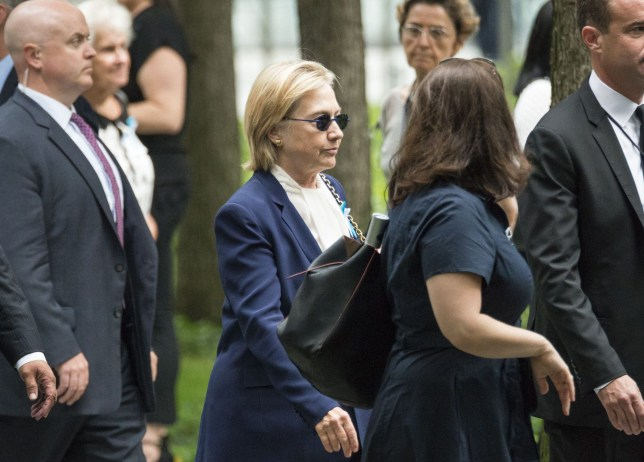 Mandatory Credit: Photo by ddp USA/REX/Shutterstock (5895746j) Democratic Presidential nominee Hillary Clinton is seen arriving at a ceremony at Ground Zero held in commemoration of the 15th anniversary of the terrorist attacks on the World Trade Center, the Pentagon and the crash of United Airlines Flight 93 in Shanksville, PA, in lower Manhattan 9/11 terrorist attack anniversary, New York, USA - 11 Sep 2016