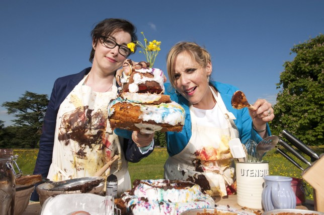 Television Programme: The Great British Bake Off, Picture Shows: British comedian Sue Perkins and actress Mel Giedroyc.......(C) Love Productions - Photographer: Des Willie