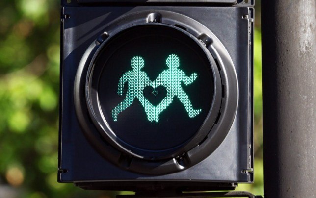 Mandatory Credit: Photo by Paul Brown/REX/Shutterstock (5734870y)nThe gay walk sign. Diversity Pedestrian Traffic Signals unveiled in support of Pride around the roads near Trafalgar Square in London. The walk images on these pedestrian lights have been changed to show gender diverse images or couples of different sexualities holding hands. The traffic signals have been designed to show TFL's support for LGBT+ diversity in London.nDiversity Pedestrian Traffic Signals unveiled in support of Pride in London, UK - 20th Jun 2016nn