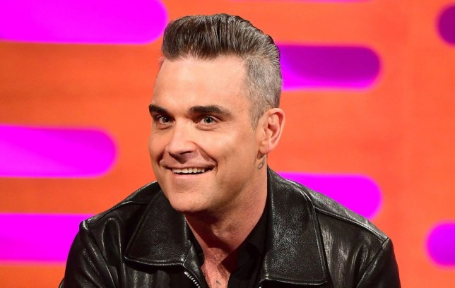 Robbie Williams during filming of The Graham Norton Show at the London Studios in London, to be aired on BBC1 on Friday evening. PRESS ASSOCIATION Photo. Picture date: Thursday September 29 2016. Photo credit should read: PA Images on behalf of So TV.