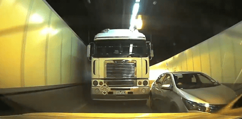 Dashcam catches lorry hitting car as it attempts to merge – but who was in the wrong?