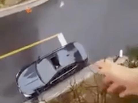 Sandwich hurler gloriously nails shot through car sunroof
