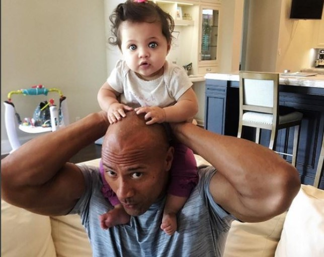 Dwayne Johnson and his nine-month-old daughter Jasmine (Picture: Instagram)