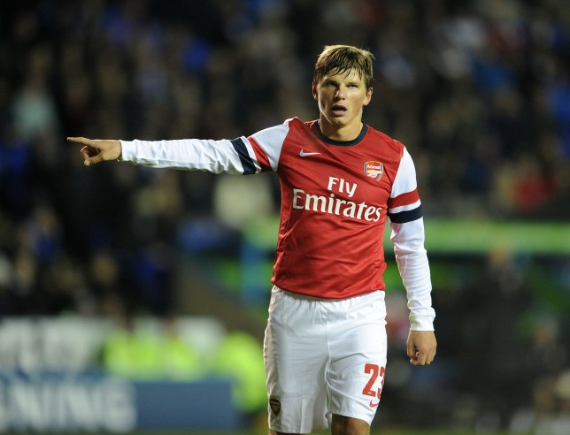 READING, ENGLAND - OCTOBER 30: Andrey Arshavin of Arsenal reacts during the Capital One Cup match between Arsenal and Reading at Madejski Stadium on October 30, 2012 in Reading, England. (Photo by David Price/Arsenal FC via Getty Images)