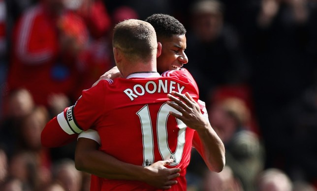 MANCHESTER, ENGLAND - APRIL 16:  Marcus Rashford of Manchester United celebrates scoring the opening goal with Wayne Rooney of Manchester United during the Barclays Premier League match between Manchester United and Aston Villa at Old Trafford on April 16, 2016 in Manchester, England.  (Photo by Clive Brunskill/Getty Images)