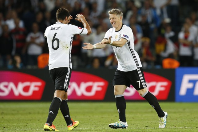 (L-R) Sami Khedira of Germany, Bastian Schweinsteiger of Germany during the UEFA EURO 2016 Group C group stage match between Germany and Ukraine at the SStade Pierre-mauroy on june 12, 2016 in Lille, France.(Photo by VI Images via Getty Images)