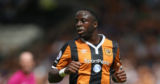 HULL, ENGLAND - AUGUST 13: Adama Diomande of Hull during the Premier League match between Hull City and Leicester City at KC Stadium on August 13, 2016 in Hull, England. (Photo by Alex Morton/Getty Images)