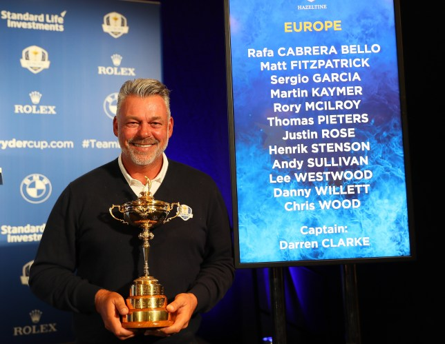 VIRGINIA WATER, ENGLAND - AUGUST 30: Darren Clarke, the European Ryder Cup captain, is pictured during the Ryder Cup Europe Press Conference at Wentworth on August 30, 2016 in Virginia Water, England. (Photo by Andrew Redington/Getty Images)