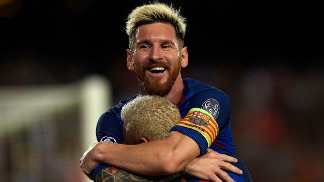 f69ca9e8d8d BARCELONA, SPAIN - SEPTEMBER 13: Lionel Messi of FC Barcelona celebrates  scoring his team's. Messi scored the sixth Champions League ...