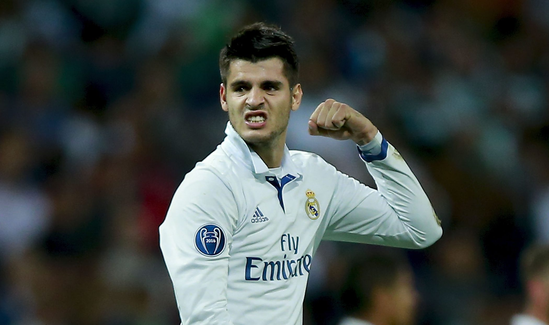 MADRID, SPAIN - SEPTEMBER 14: Alvaro Morata of Real Madrid CF celebrates after winning the UEFA Champions League group stage match between Real Madrid CF and Sporting Clube de Portugal at Santiago Bernabeu stadium on September 14, 2016 in Madrid, Spain. (Photo by Gonzalo Arroyo Moreno/Getty Images)