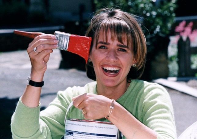 Carol Smillie in television programme 'Changing Rooms' . Seen with a paintbrush.