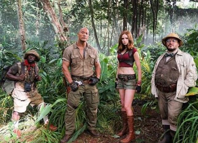 Kevin Hart, Dwayne Johnson, Karen Gillan and Jack Black in the Jumanji sequel (Picture: Instagram)