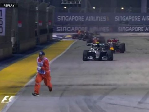 Terrifying scenes at Singapore Grand Prix as everyone forgets to tell marshal the race was restarting