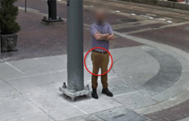 Man caught on Google Street View looking like he has wet ... on caught on bing street view, captured on google street view, murder on google street view, dead body on google street view, funny google street view,