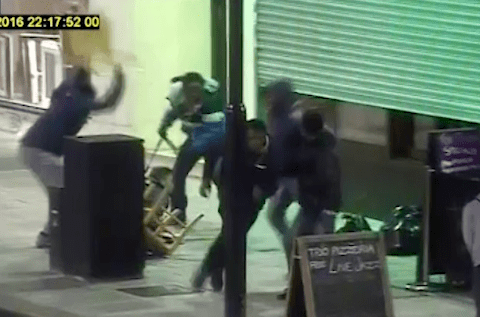Teenagers caught on CCTV beating man unconscious with chair in attack in London
